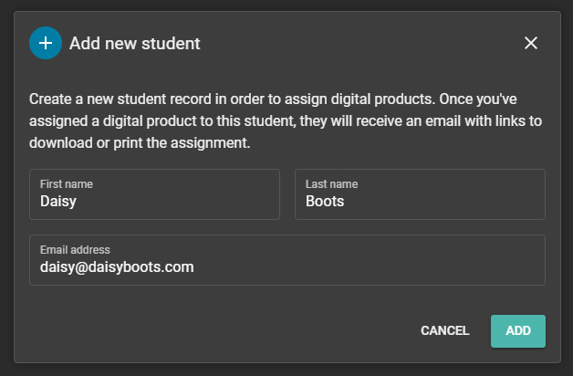Image of add student form