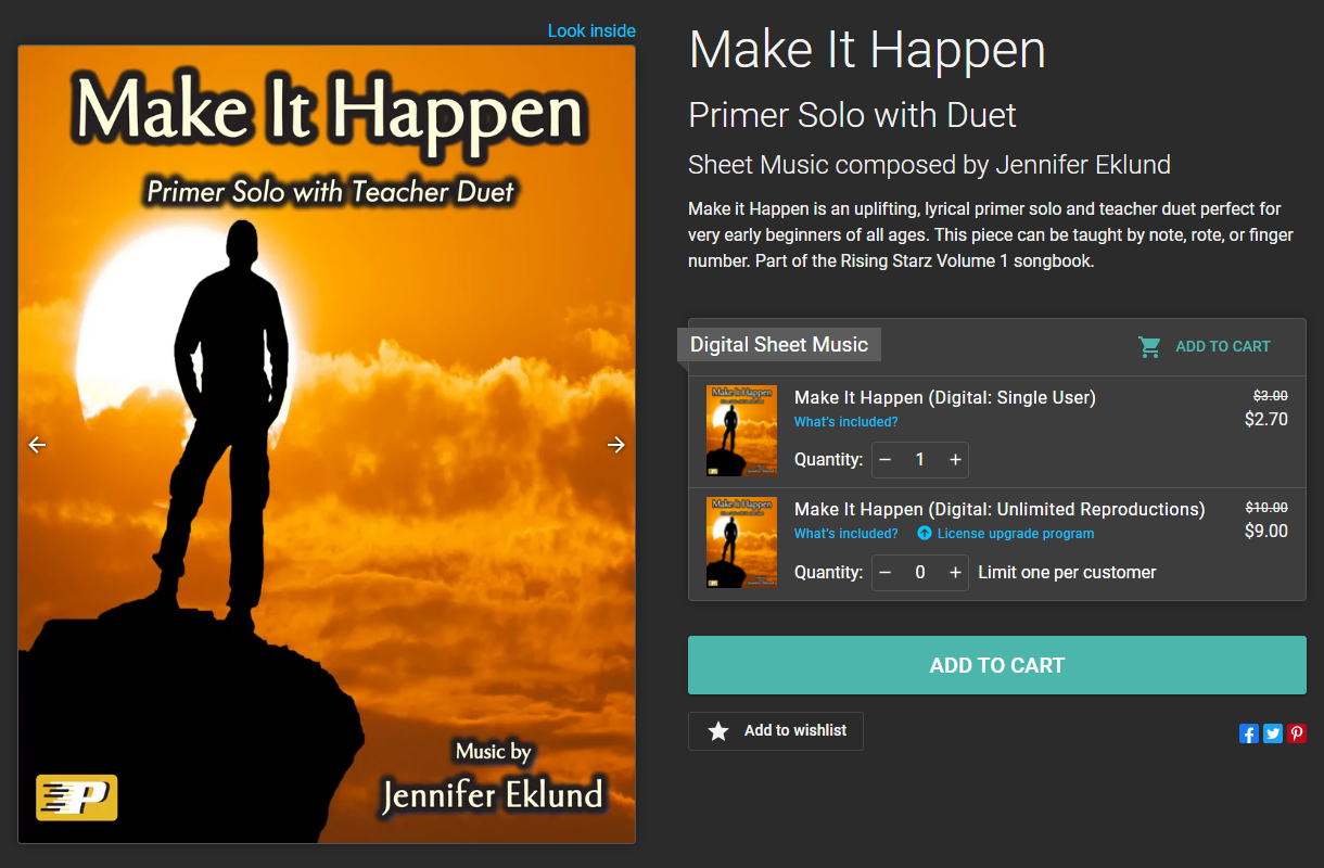 Image of Make It Happen sheet music product page, before purchasing