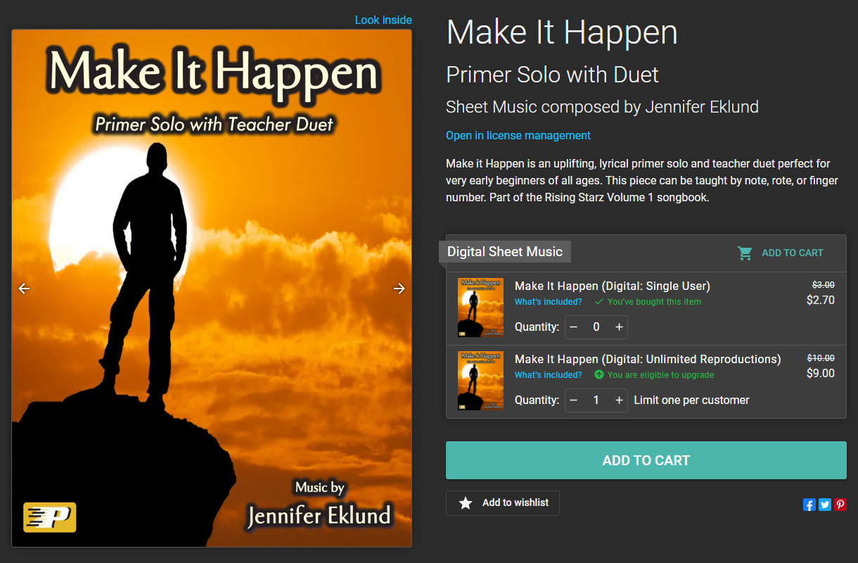Image of Make It Happen sheet music product page, after purchasing the single-user license
