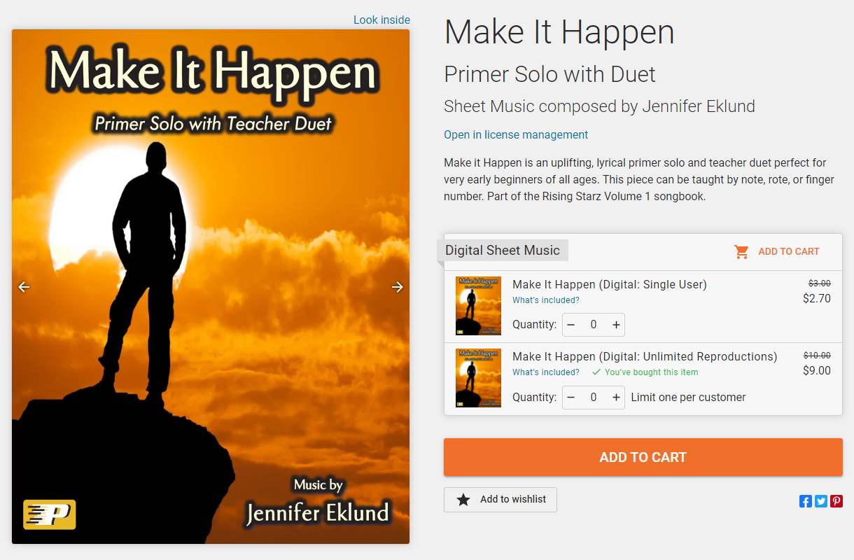 Image of Make It Happen sheet music product page, after purchasing the unlimited reproductions license