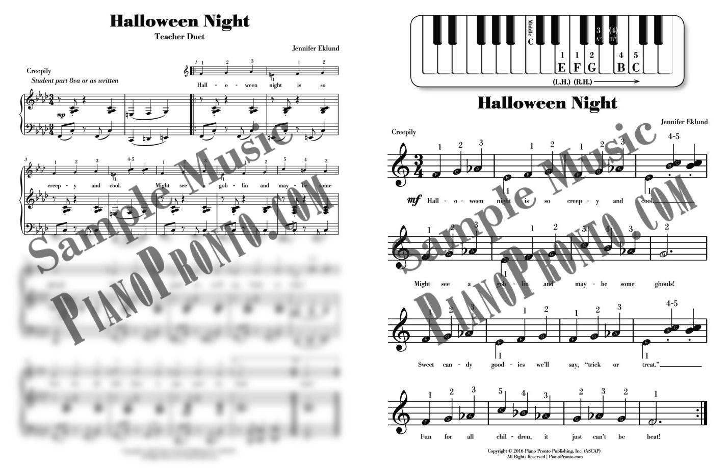 halloween night | sheet music | piano pronto publishing