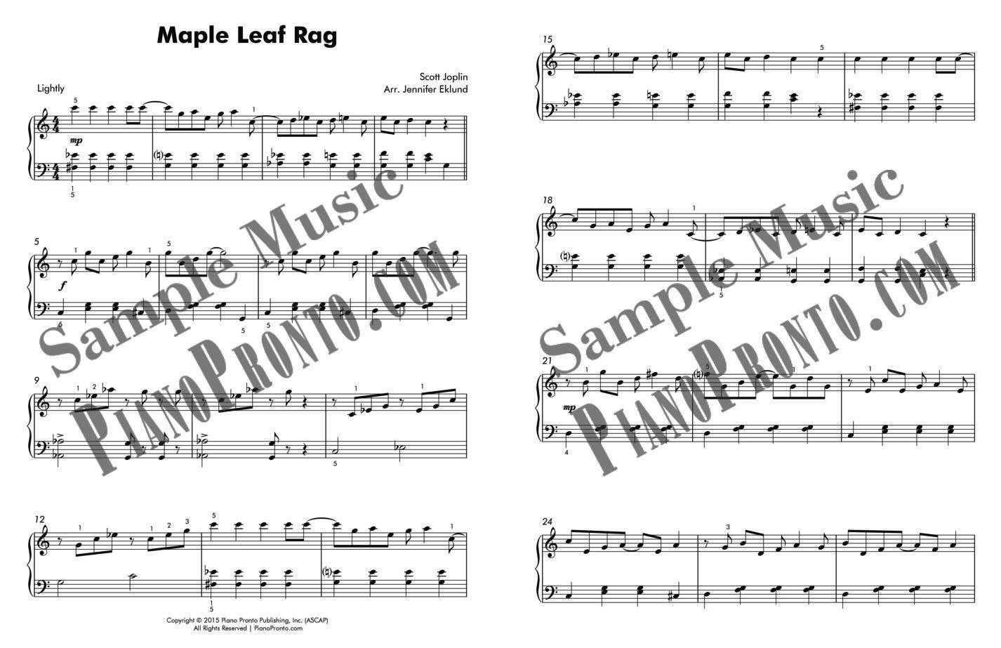 Music Notes Maple Leaf Rag Scott Joplin Easy Piano Sheet Music