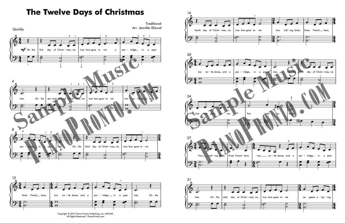 12 Days Of Christmas Sheet Music.The Twelve Days Of Christmas For Easy Piano