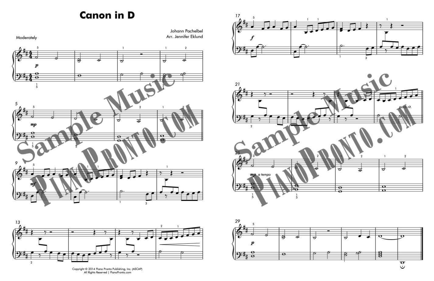 Canon in D - Easy Piano Version